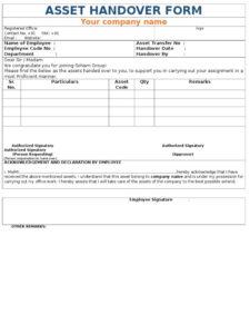 Material Handover Letter Format Doc inside Handover Certificate Template