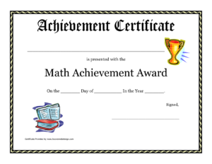 Math Achievement Award Printable Certificate Pdf | Math pertaining to Academic Award Certificate Template