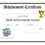 Math Achievement Award Printable Certificate Pdf | Math regarding Math Certificate Template