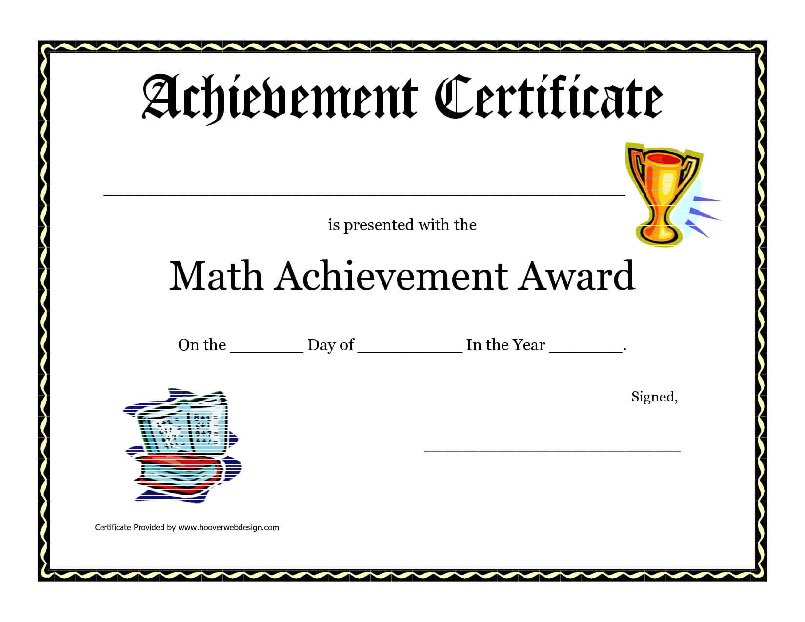 Math Achievement Award Printable Certificate Pdf | Math Regarding Math Certificate Template