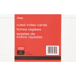 "Mead 90 Lb Stock Index Cards – Ruled Red Margin – 90 Lb Basis Weight – 5"" X  8"" – White Paper – 100 / Pack intended for 5 By 8 Index Card Template"