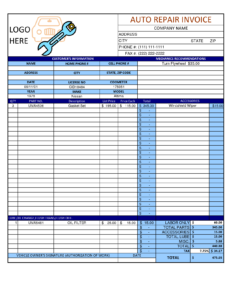 Mechanic Shop Invoice | Scope Of Work Template | Auto In pertaining to Job Card Template Mechanic