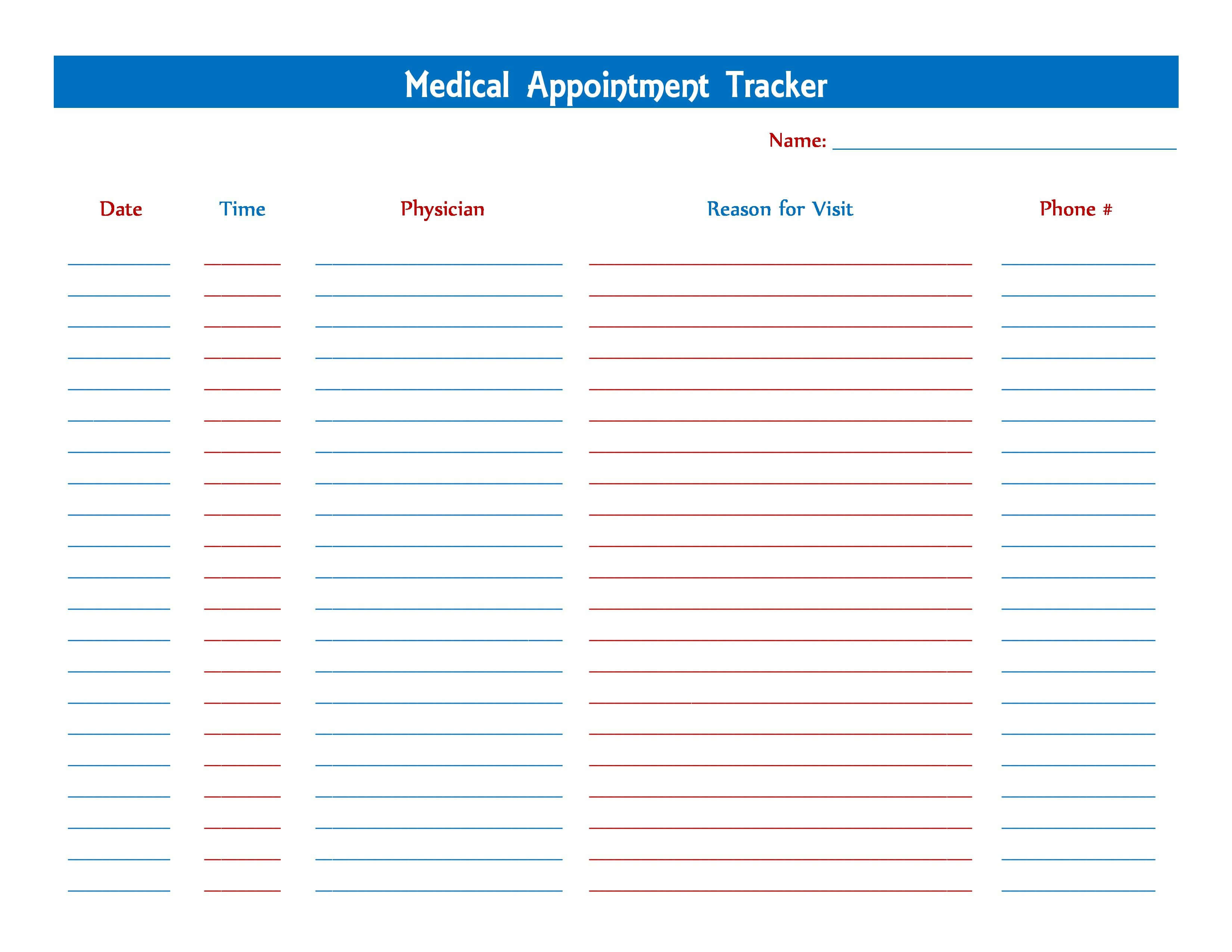 Medical Appointment Tracker | Printables | Tracker Free With Medical Appointment Card Template Free