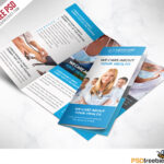 Medical Care And Hospital Trifold Brochure Template Free Psd For 3 Fold Brochure Template Free