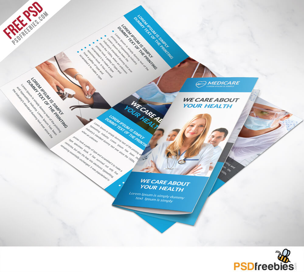Medical Care And Hospital Trifold Brochure Template Free Psd Pertaining To Healthcare Brochure Templates Free Download