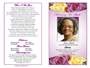 Memorial Service Programs Sample | Choose From A Variety Of in Funeral Invitation Card Template