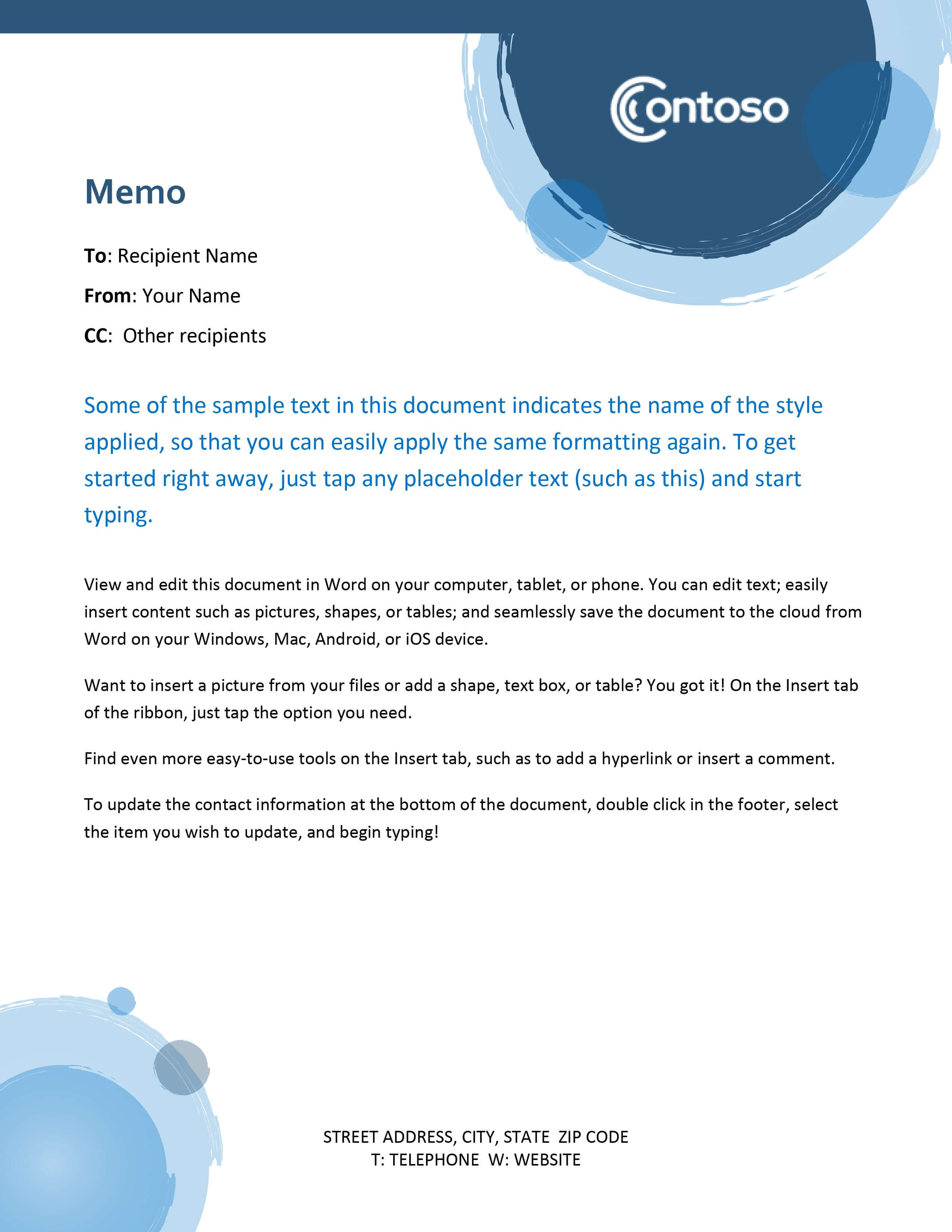 Memos - Office Inside Memo Template Word 2010