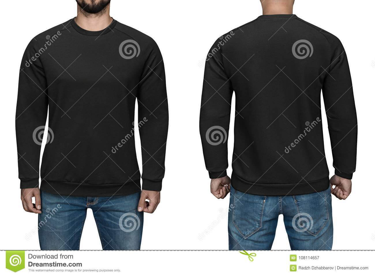Men In Blank Black Pullover, Front And Back View, White Inside Blank Black Hoodie Template