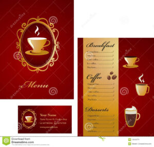 Menu And Business Card Template Design – Coffee Stock Vector with regard to Coffee Business Card Template Free