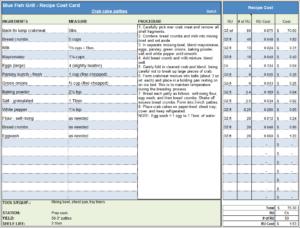 Menu & Recipe Cost Spreadsheet Template regarding Restaurant Recipe Card Template