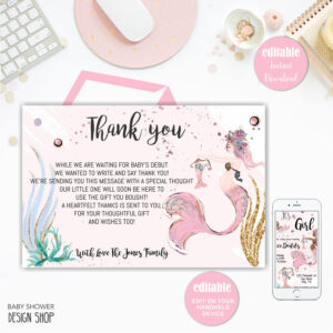 Mermaid Baby Shower, Thank You Card, Printable Thank You Card, Editable  Template, Instant Download Within Template For Baby Shower Thank You Cards