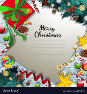 Merry Christmas Card Template With Present And in Adobe Illustrator Christmas Card Template