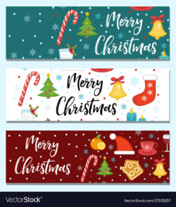 Merry Christmas Set Of Banners Template With With Regard To Merry Christmas Banner Template