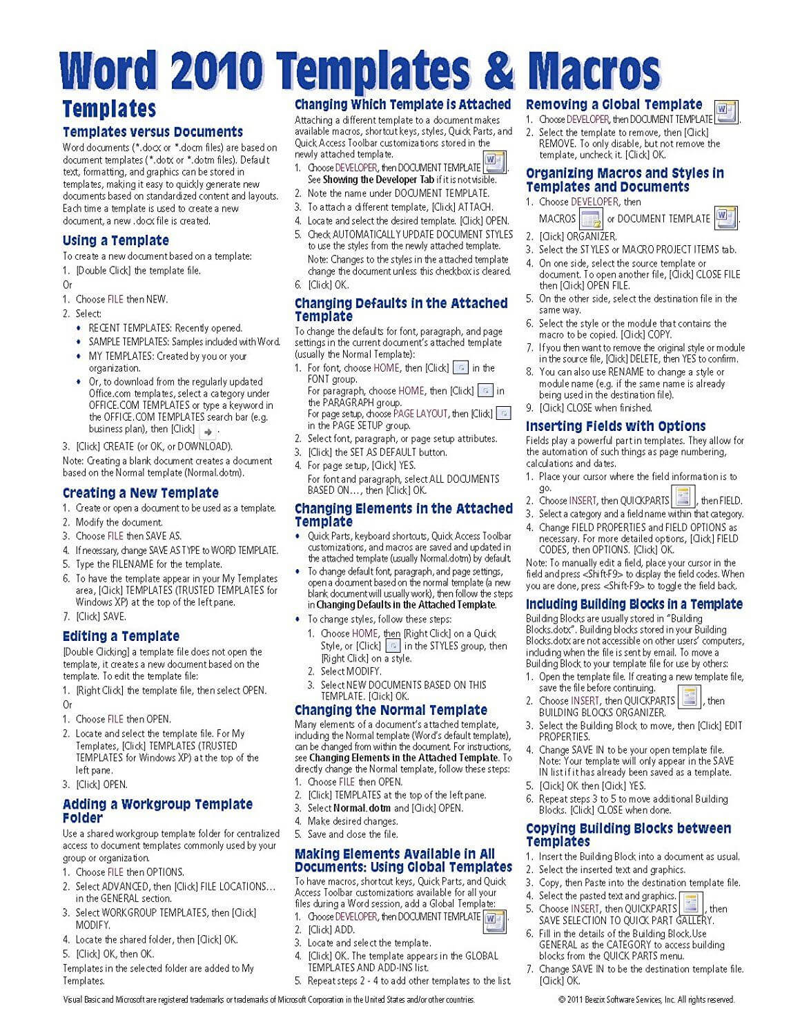 Microsoft Word 2010 Templates & Macros Quick Reference Guide Intended For Cheat Sheet Template Word