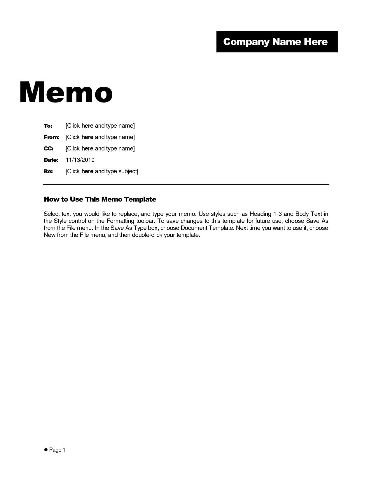 Microsoft Word Memo Template Example – Teplates For Every Day Intended For Memo Template Word 2010