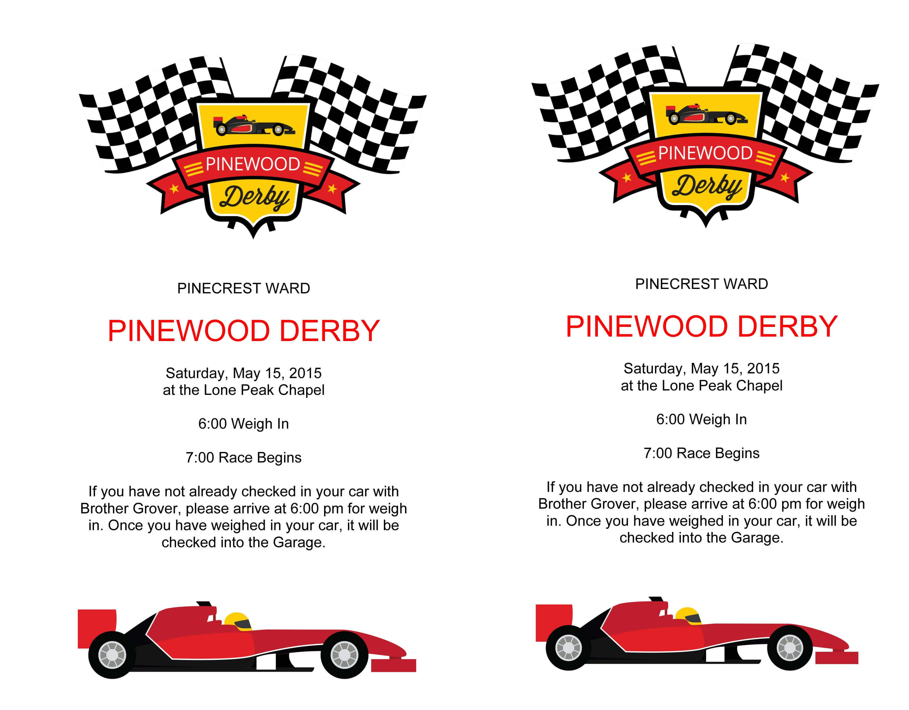 Microsoft Word - Pinewood Derby Flyer.docx | Scouts With Pinewood Derby Certificate Template