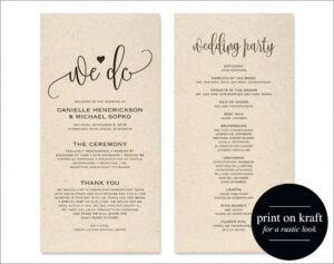 Microsoft Word Wedding Program Template – Wovensheet.co in Free Printable Wedding Program Templates Word