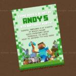 Minecraft Birthday Party Invitation Templates – Invitation Inside Minecraft Birthday Card Template