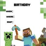 Minecraft Invite   Minecraft Party   Minecraft Party In Minecraft Birthday Card Template