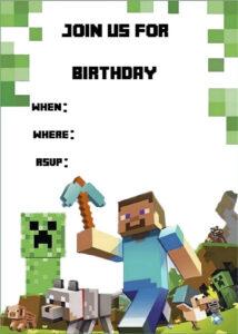 Minecraft Invite | Minecraft Party | Minecraft Party in Minecraft Birthday Card Template