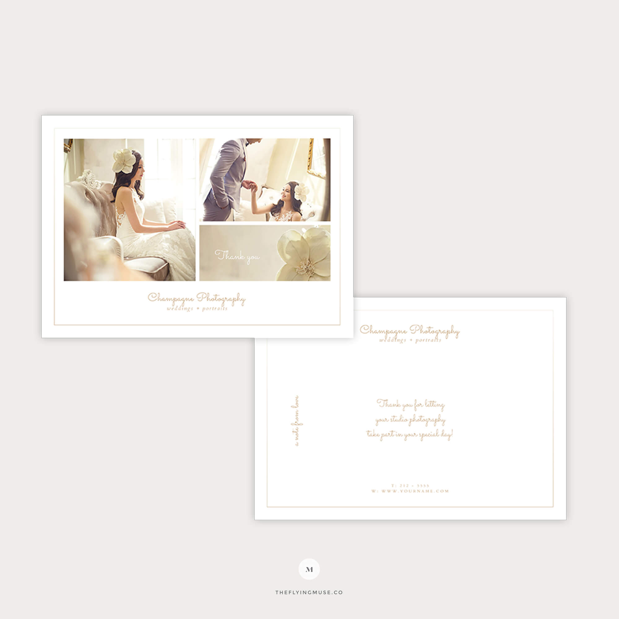 Minimal Thank You Card Template For Wedding Photographers – Champagne  Collection – The Flying Muse Within Template For Wedding Thank You Cards