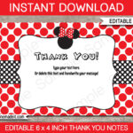 Minnie Mouse Thank You Cards – Printable Minnie Mouse Theme Thank You Cards  – Birthday Party – 4X6 Inches – Instant Download – Editable Text With Minnie Mouse Card Templates