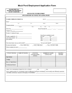 Mock Job Application | Mock Job Applications – Pdf regarding Job Application Template Word Document