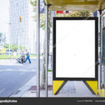 Mock Up Banner Template At Bus Shelter Media Outdoor City Inside Street Banner Template