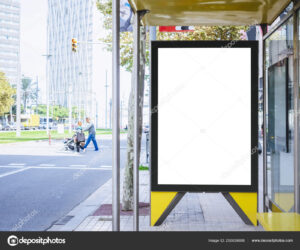 Mock Up Banner Template At Bus Shelter Media Outdoor City inside Street Banner Template