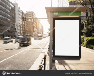 Mock Up Banner Template At Bus Shelter Media Outdoor Display inside Street Banner Template