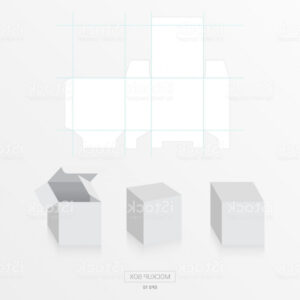 Mockup Box With Die Cut Template Vector Blank Square Box within Blank Packaging Templates