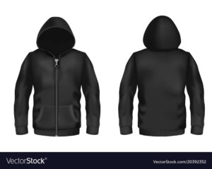 Mockup With Realistic Black Hoodie Vector Image In Blank Black Hoodie Template