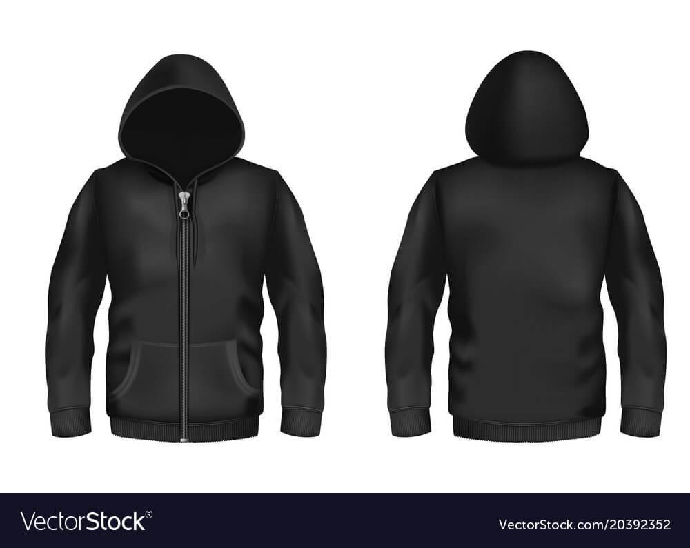 Mockup With Realistic Black Hoodie Vector Image In Blank Black Hoodie Template