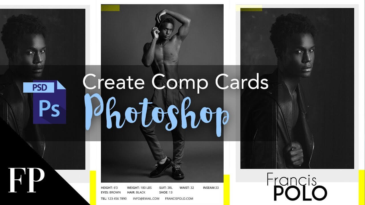 Model Comp Card With Adobe Photoshop + Free Template inside Download Comp Card Template