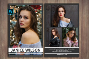 Modeling Comp Card, Comp Card Template, Photoshop Template, Instant  Download, Professional Model Comp Card, Fashion Model Comp Card intended for Free Model Comp Card Template