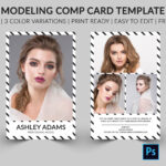 Modeling Comp Card | Model Agency Zed Card | Photoshop, Elements & Ms Word  Template |Modeling Card | Instant Download | Intended For Free Model Comp Card Template
