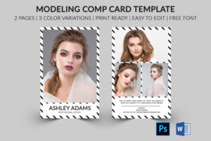 Modeling Comp Card | Model Agency Zed Card | Photoshop, Elements & Ms Word  Template |Modeling Card | Instant Download | intended for Free Zed Card Template