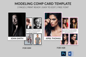 Modeling Comp Card | Model Agency Zed Card | Photoshop & Ms Word Template  |Modeling Card | Comp Card | Model Comp Card | Instant Download intended for Zed Card Template Free