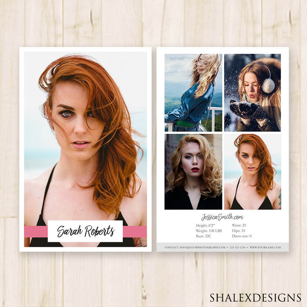 Modeling Comp Card Template Model Comp Card Fashion | Etsy With Regard To Comp Card Template Download