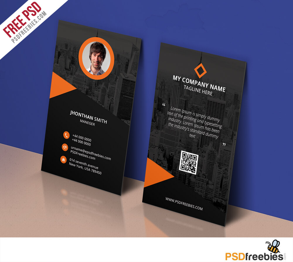 Modern Corporate Business Card Template Free Psd With Template Name Card Psd