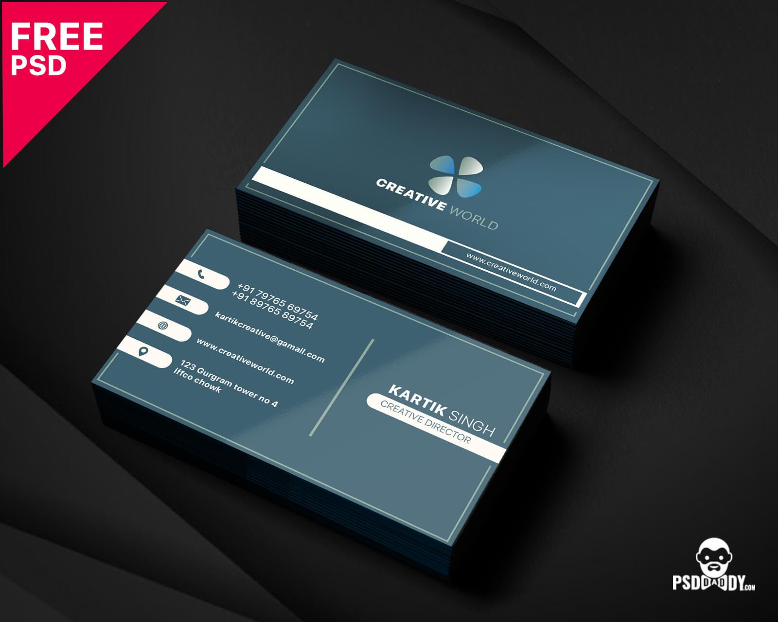 Modern Corporate Business Card Template   Psddaddy Pertaining To Unique Business Card Templates Free