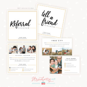 Modern Hand Lettering Referral Card Set – Strawberry Kit Inside Referral Card Template