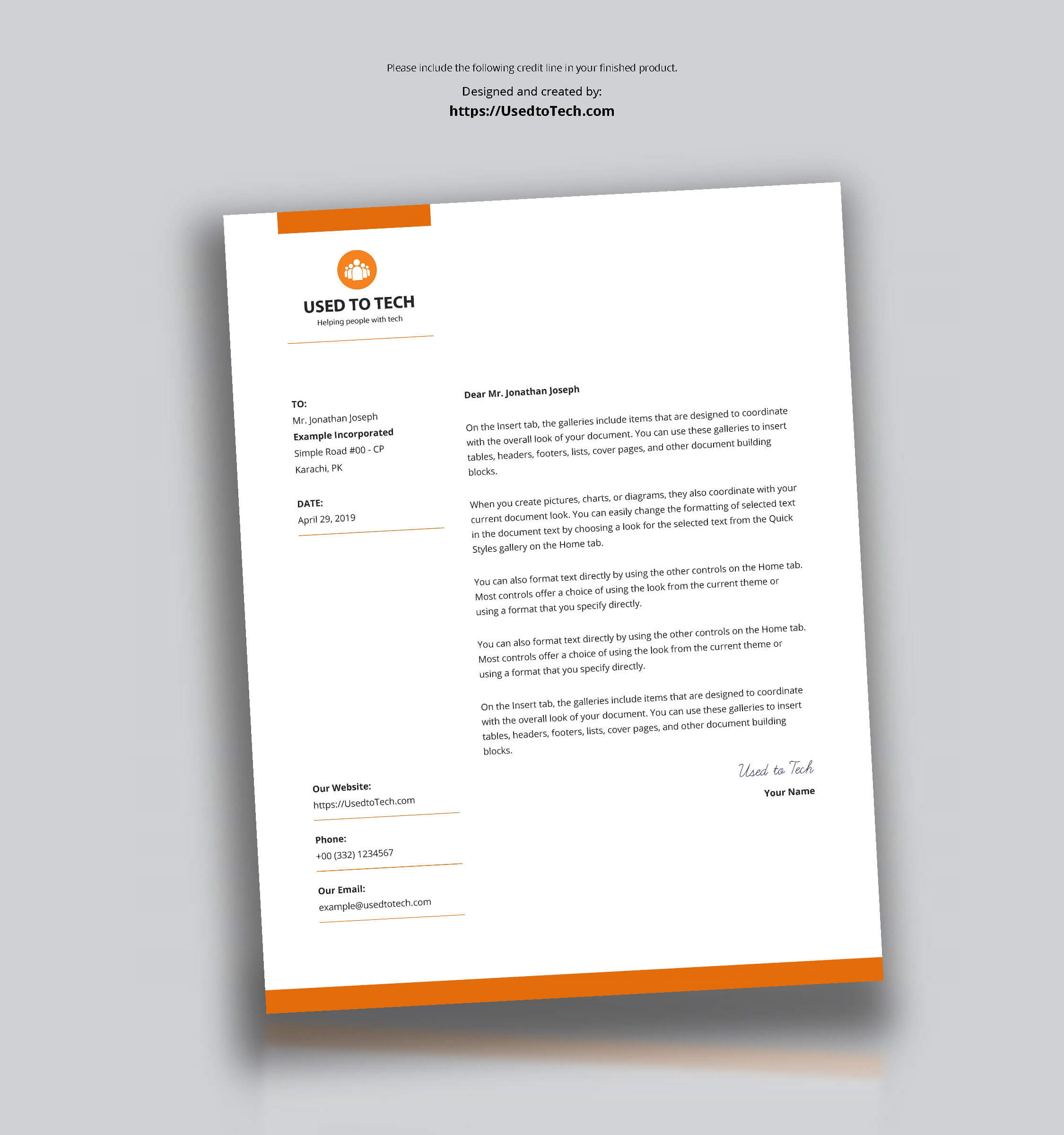 Modern Letterhead Template In Microsoft Word Free - Used To Tech With Regard To Free Letterhead Templates For Microsoft Word