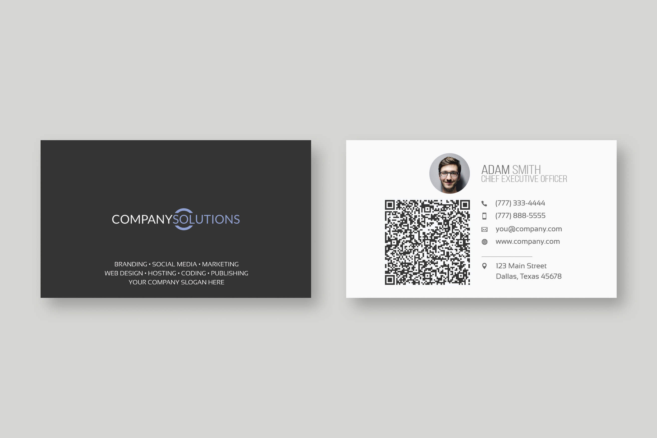 Modern Qr Code Business Card Template Throughout Company Business Cards Templates