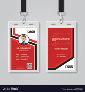 Modern Red Id Card Template with Template For Id Card Free Download