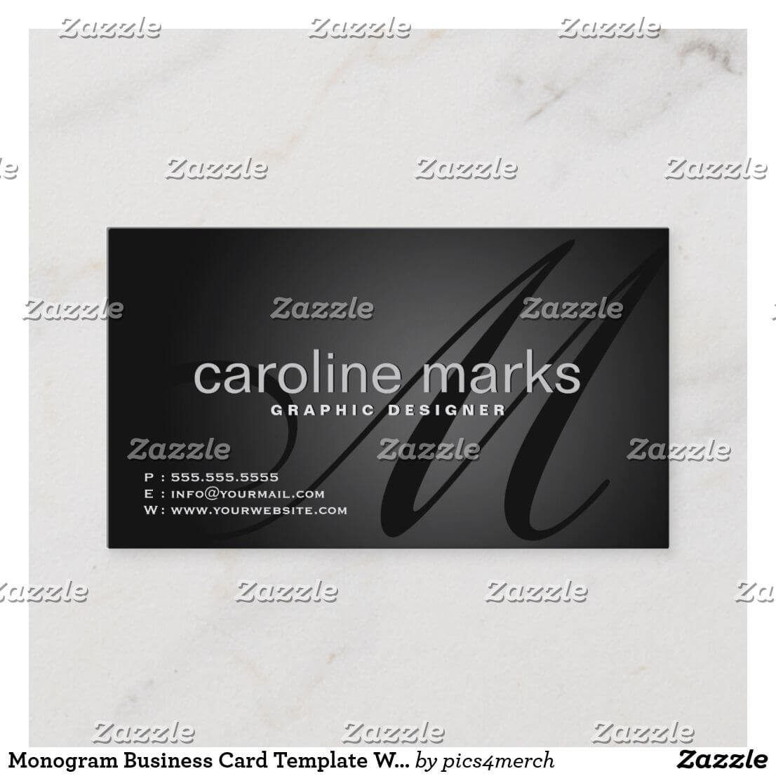 Monogram Business Card Template With Qr Code | Zazzle with Qr Code Business Card Template