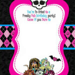 Monster High Party Invitations Template • Invitation Throughout Monster High Birthday Card Template