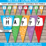 Monster Party Banner Template Intended For Free Happy Birthday Banner Templates Download