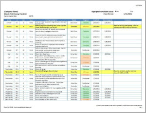 Month End Close Checklist – Spreadsheetshoppe throughout Month End Report Template