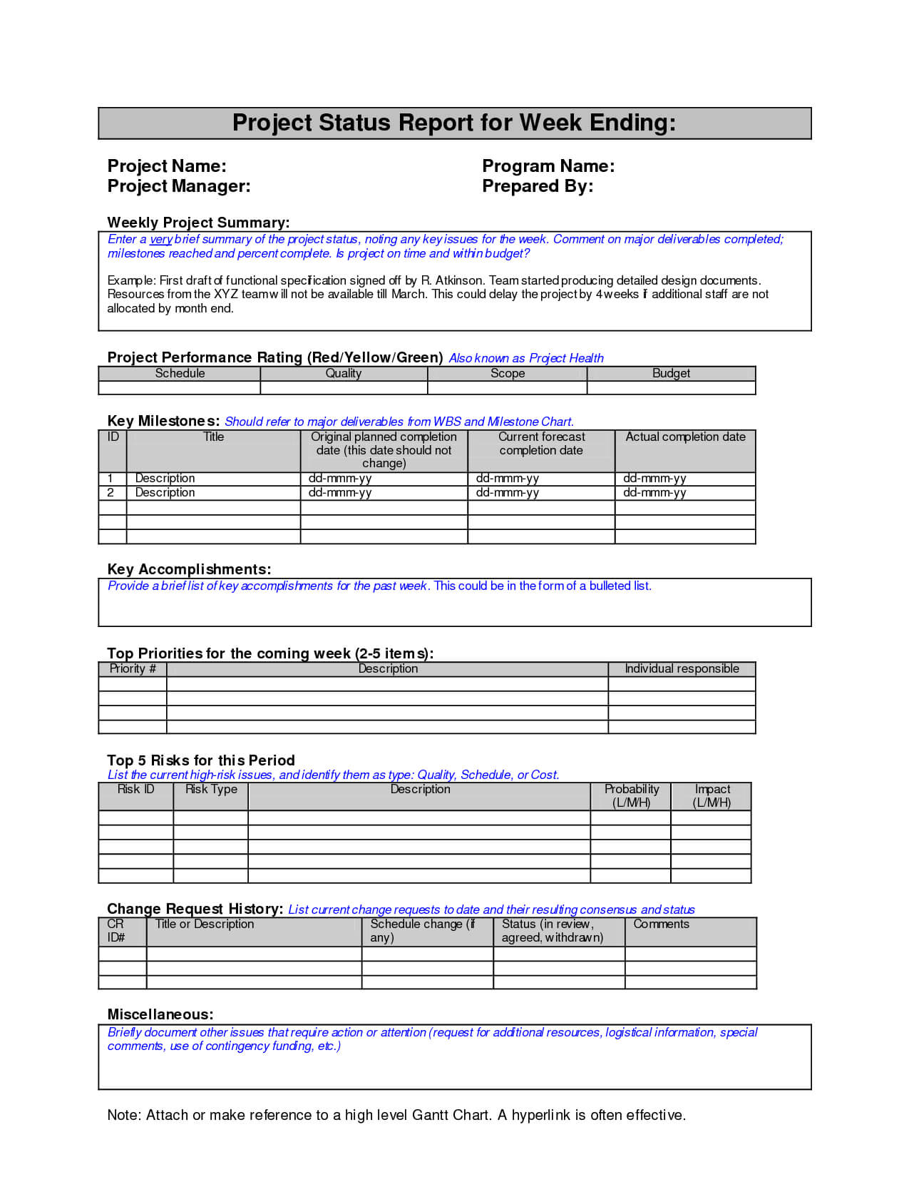 Monthly Project Status Report Template Word Powerpoint Intended For Project Status Report Template Word 2010